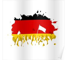 Celebrating Crowd with German flag Poster