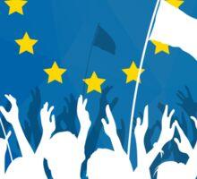 Celebrating Crowd with European Union flag Sticker