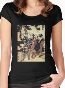 'Traveling Couple' by Katsushika Hokusai (Reproduction) Women's Fitted Scoop T-Shirt