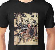 'Traveling Couple' by Katsushika Hokusai (Reproduction) Unisex T-Shirt