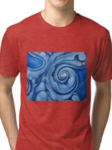 Blue Graffiti Swirls Tri-blend T-Shirt