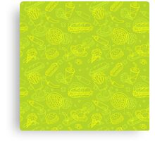 Fast Food Doodle Seamless Pattern Canvas Print