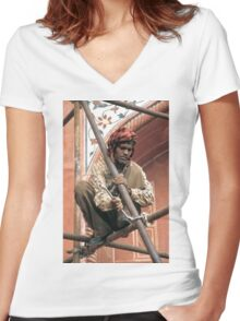 Building scaffolding in Delhi, India Women's Fitted V-Neck T-Shirt