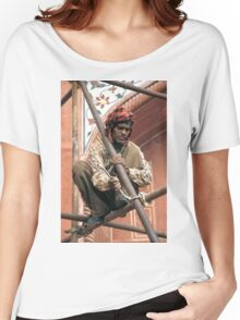 Building scaffolding in Delhi, India Women's Relaxed Fit T-Shirt