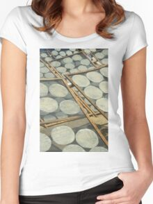 Rice papers drying in the sun, Vietnam Women's Fitted Scoop T-Shirt