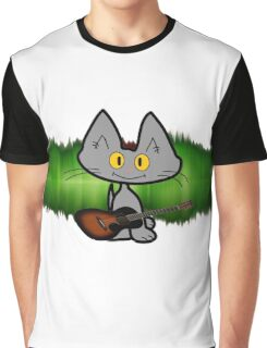 Rock and Roll Cat Graphic T-Shirt