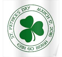 St. Patrick's Day 2016 round, green Poster