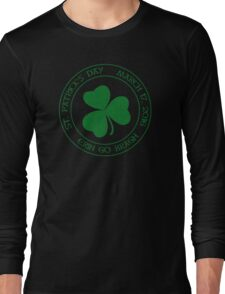 St. Patrick's Day 2016 round, green, distressed Long Sleeve T-Shirt