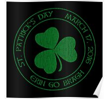St. Patrick's Day 2016 round, green, distressed Poster