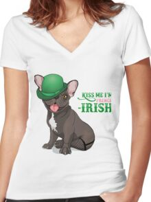 Kiss me I'm French-Irish  Women's Fitted V-Neck T-Shirt