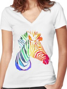 Low-Poly Rainbow Zebra Women's Fitted V-Neck T-Shirt