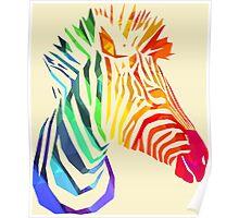 Low-Poly Rainbow Zebra Poster