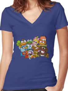 Muppet Babies - Group Women's Fitted V-Neck T-Shirt