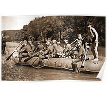 German Soldiers in a Raft during WW2 Poster
