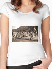 German Soldiers in a Raft during WW2 Women's Fitted Scoop T-Shirt