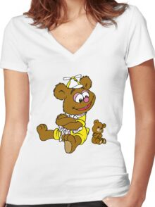Muppet Babies - Fozzie Bear & Teddy - Arms Crossed Women's Fitted V-Neck T-Shirt