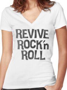 Vintage Retro Revive Rock n' Roll Design Women's Fitted V-Neck T-Shirt