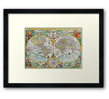Vintage Map of the World Framed Print