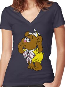 Muppet Babies - Fozzie Bear - Sucking Thumb Women's Fitted V-Neck T-Shirt