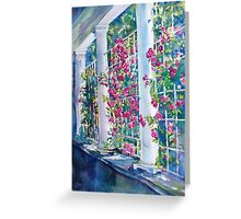 Rose Garden Sunshine on Trellis Watercolor Greeting Card