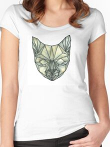 Geometric Cat - Nude + Black Women's Fitted Scoop T-Shirt