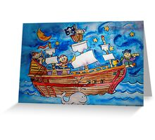 Ahoy! Pirate Ship Watercolor for Kids Greeting Card