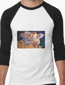 Waiting for Wolfie 3 Pigs Watercolor Men's Baseball ¾ T-Shirt