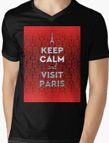 Keep Calm and Visit Paris Opera Garnier Floral Wallpaper Mens V-Neck T-Shirt