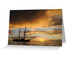 Last light on tall ship Greeting Card