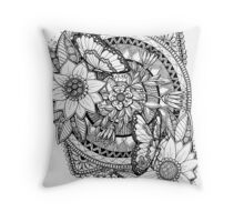 Flutterby and smell the flowers Throw Pillow