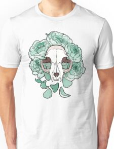 Cat and Peonies- Mint Unisex T-Shirt