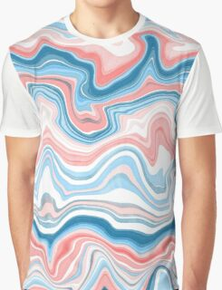 Red/Blue Marble Graphic T-Shirt