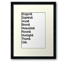 Character List Eragon Framed Print