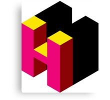 Letter H Isometric Graphic Canvas Print