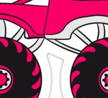 pink girl woman girl female monster truck cool comic eyes face cartoon cars Sticker