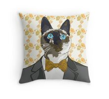 Cat with a Green and Yellow Bowtie Throw Pillow