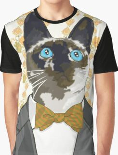 Cat with a Green and Yellow Bowtie Graphic T-Shirt