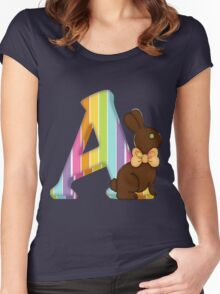 Letter A Chocolate Easter Bunny Women's Fitted Scoop T-Shirt