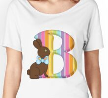 Letter B Chocolate Easter Bunny Women's Relaxed Fit T-Shirt