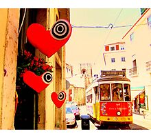 Lisbon Streetcar with hearts Photographic Print