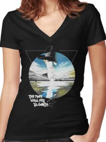 The Man Who Fell to Earth - Bowie Women's Fitted V-Neck T-Shirt