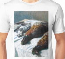 1879-Claude Monet-Still Life with Pheasants and Plovers-26 x 35 Unisex T-Shirt