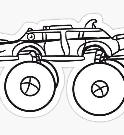limousine long cool monster truck comic eyes face cartoon cars turbo Sticker