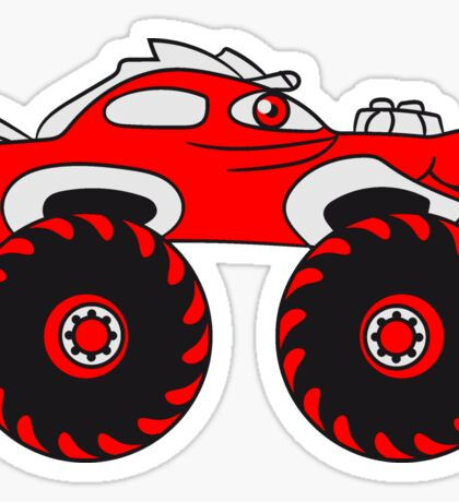 laughing cool monster truck comic eyes face cartoon cars Sticker