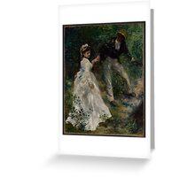 Auguste Renoir - La Promenade 1870 Woman Portrait Impressionism  Landscape Greeting Card