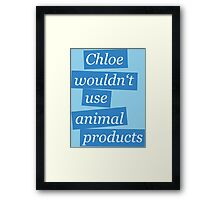 Max' bathroom comment (blue) Framed Print