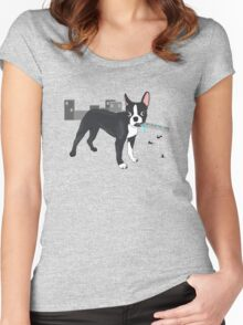 Attack of the Colossal Boston Terrier!!! Women's Fitted Scoop T-Shirt