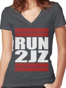 RUN 2JZ tire tread Women's Fitted V-Neck T-Shirt
