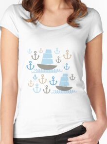 Sailboat on blue background Women's Fitted Scoop T-Shirt