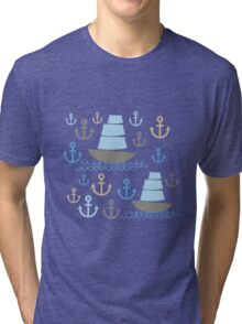 Sailboat on blue background Tri-blend T-Shirt